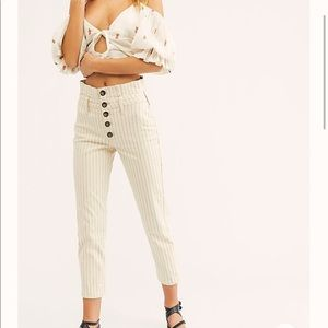 Free People Cream Pinstripe Skinny Pants